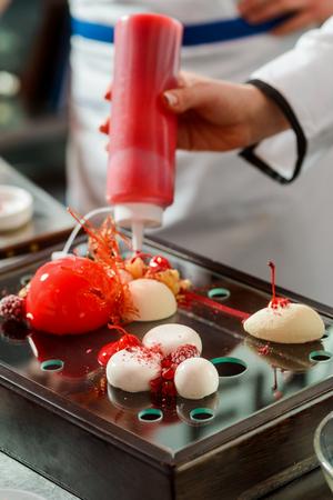 Sweet syrup and yogurt spheres Stok Fotoğraf