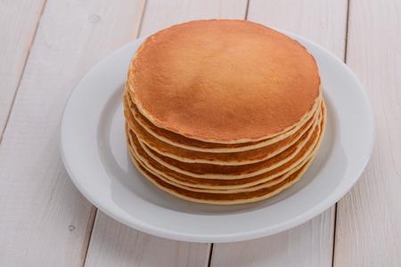 Dish full of tasty pancakes