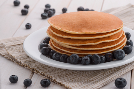 Folded pancakes with scattered blueberries 版權商用圖片