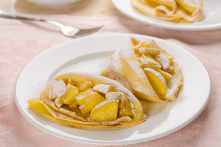 Pancakes with apple cinnamon filling