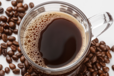 Tasty coffee in close up
