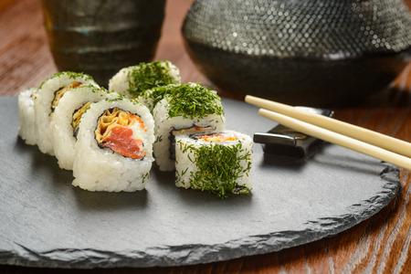 Smoked salmon and caviar rolls Stockfoto