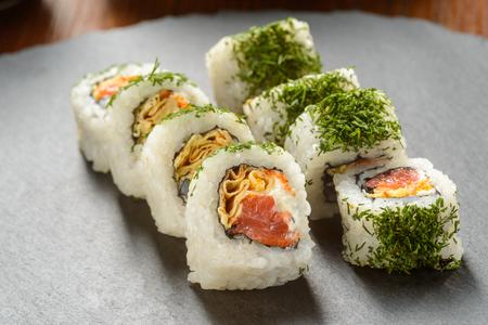 Smoked salmon sushi rolls Banco de Imagens