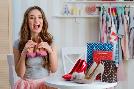 Woman talks about shoes Stock Photo
