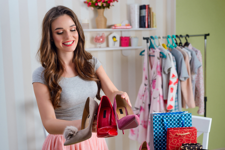 Shopping blogger shows new shoes