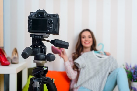 Fashion blogger making a video Stock Photo