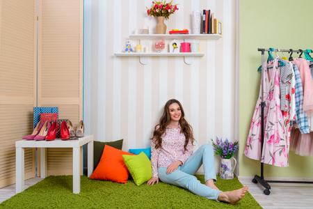 Pretty girl in her room Stock Photo