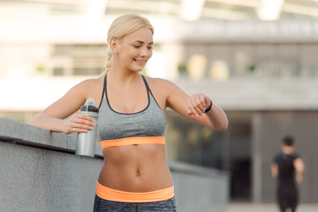 Athletic woman with good abs Stock Photo