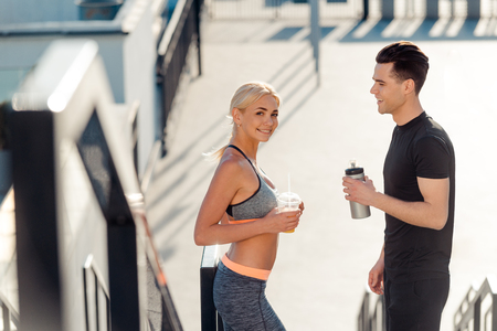 Smiling couple after training