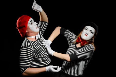 Drama between two mimes Stock Photo