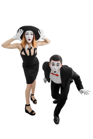 Surprised woman and man 스톡 콘텐츠