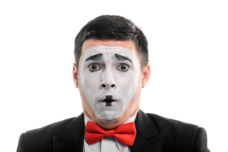 Scared grimace of a mime