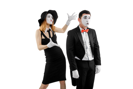 Emotional mime artists on white Zdjęcie Seryjne