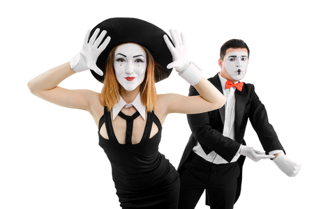 Two mimes as family couple
