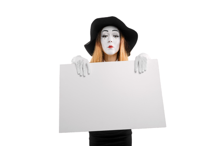 Mime actress with empty board Stok Fotoğraf