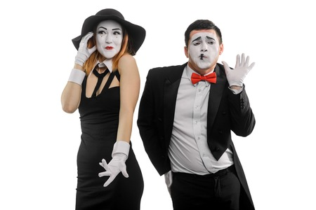 Woman and man as mimes Banque d'images - 110484061