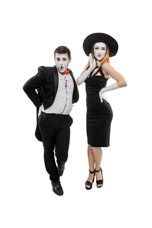 Pathetic male and female mimes Stock Photo