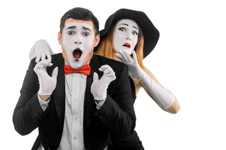 Two frightened mime actors
