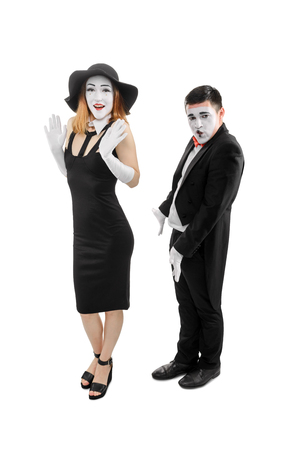 Comedy sketch of two mimes Stock Photo