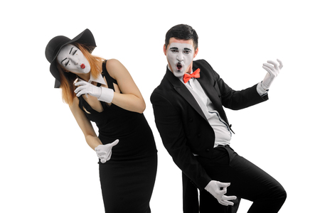 Mimes playing music instruments Stock Photo