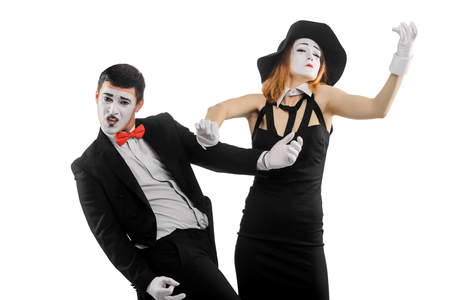 Two mimes on white Stock Photo