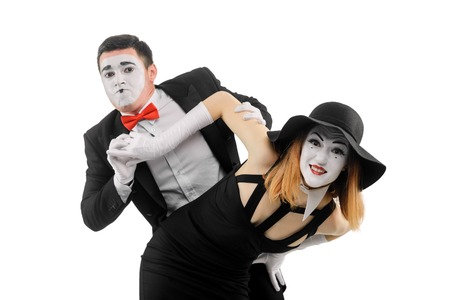 Portrait of two funny mimes