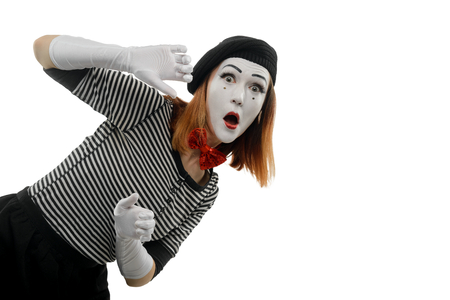 Portrait of female mime artist Stock Photo