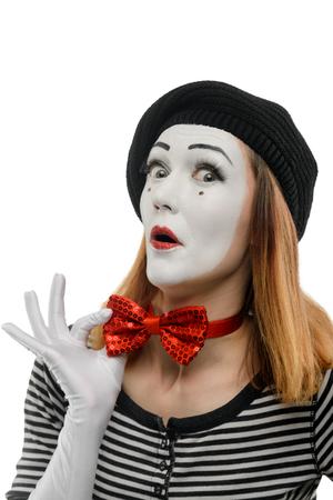 Funny female mime on white Stock Photo