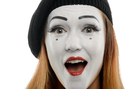 Close up on female mime