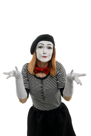 Female mime is confused Stock Photo
