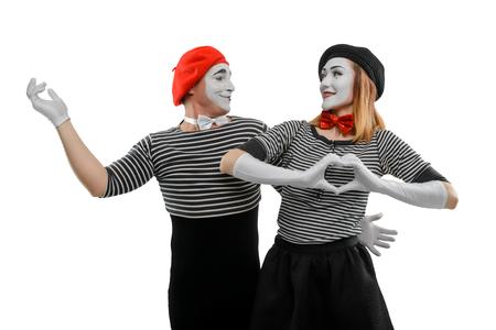 Romantic scene of two mimes Stock Photo