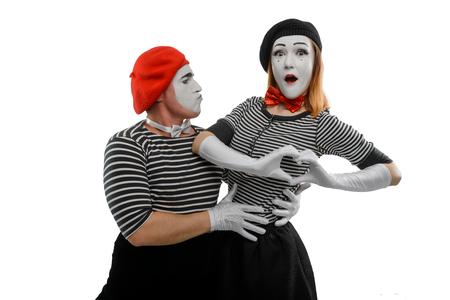 Romantic portrait of two mimes