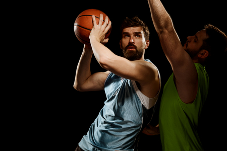 Basketball player using offensive drill Stock Photo