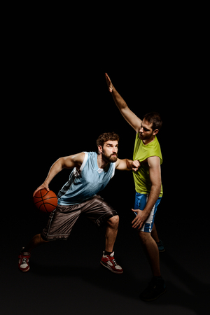 Offensive motions of basketball player Stock Photo