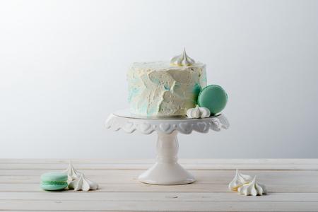 Delicate pastel cake and macaroni Stock Photo