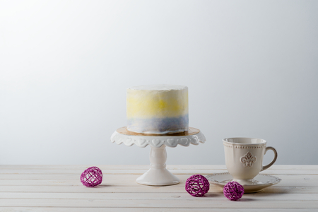 Cake and vintage tea cup