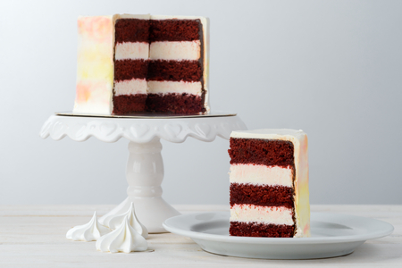 Gourmet cake on light background