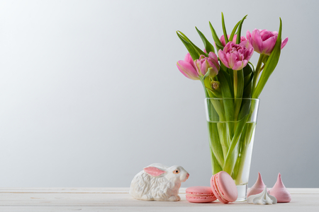 Bunny, meringues and tulips Stock Photo