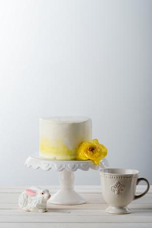 Cake, fresh flower and bunny Stock Photo