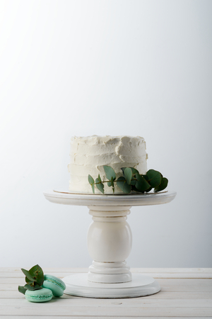 Cake and green leaves