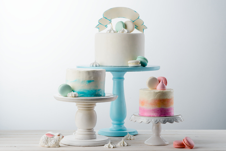 Various cakes and meringues