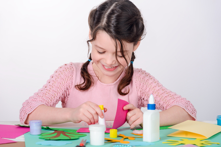 Girl making a card
