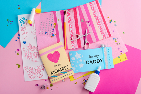 Creating greeting cards for parents Stock Photo