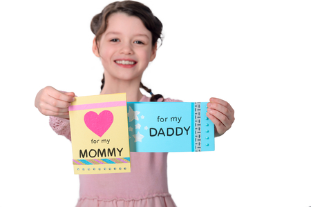 Young girl Showing love with greeting cards
