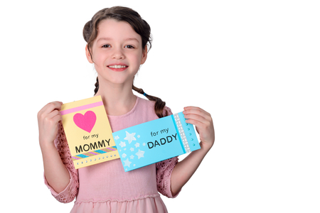 Girl made presents for parents Stock Photo