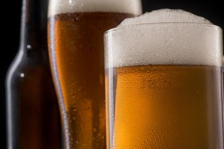 Closeup on beer glasses