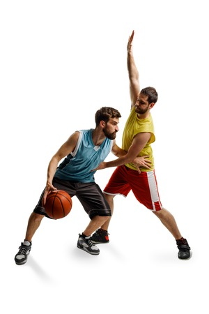Opposing basketball players on white