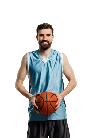 Happy basketball player on white