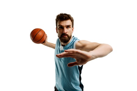 Young basketball player on white Stock Photo