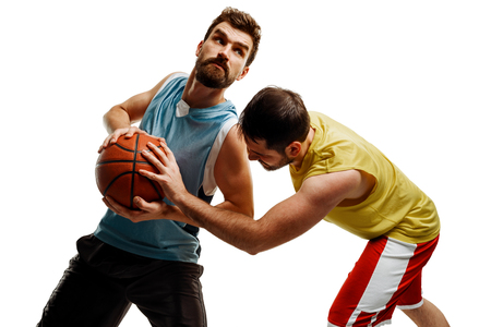 Basketball players on white background Stock Photo